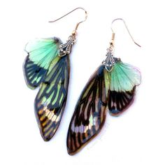 These fantasy earrings are elegant and subtly otherworldly, as fairy jewelry often is. These real insect wing earrings resemble butterfly wings and are in the color Opal Fire! They are cast perfectly in jeweler's grade resin, these cicada wing earrings dangle from 0.925 sterling silver fish hook bases.