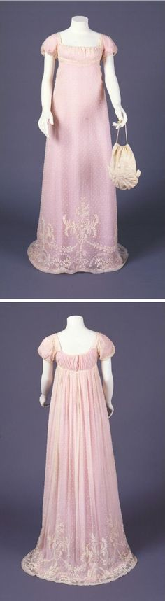 Dress, 1805-1810, At the beginning of the nineteenth century, whitework became the favored embellishment for fashionable Grecian-style gowns, the latest fashion, with low necks and high waists. The neo-classical design at the skirt's center front echoes the delicate swags on embroidered pictures, while the sheer gauze fabric (which required a solid color underdress to avoid indecent exposure) recalls the floating train on the Egyptian princess's dress in Ruth Green Barber's Moses picture.