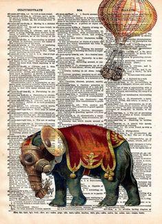 Steampunk elephant, elephant art print, oddities art https://www.steampunkartifacts.com/collections/steampunk-glasses