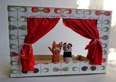 Hanging Houses: Poppenkast maken van een brievenbusdoos Reuse Recycle, Recycling, Puppet Show, Hand Puppets, Crafts For Girls, Diy Hacks, Diys, Theater, House