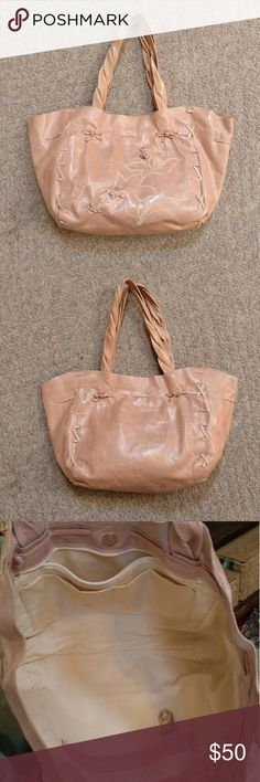 "Italian leather handbag Soft pink handbag.  Genuine leather and made in Italy.  Braided leather handles.  Measures about 14"" x 10"" x 4"". Some marks inside the zipper pocket.  You can't see it unless it's open (picture 4). Roberta Gandolfi  Bags"