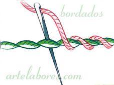 Variantes de los puntos de cordoncillo, repasado dos veces