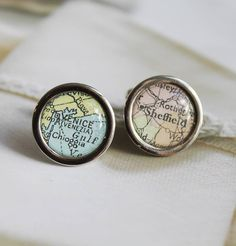 vintage map cufflinks by posh totty designs boutique   notonthehighstreet.com £22 gift for ushers