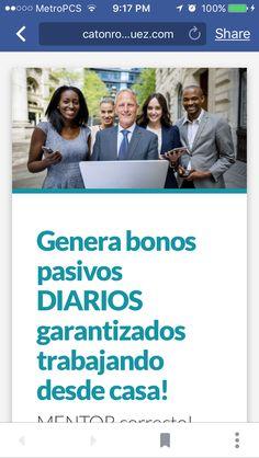 """Perseguir a familia y amigos con un """"NEGOCIO GENIAL"""" es tiempo pasado! Trabaja desde casa! Tenemos todo lo que necesitas, regístrate aquí : www.todoxinter.net #catonr,#mentores"""