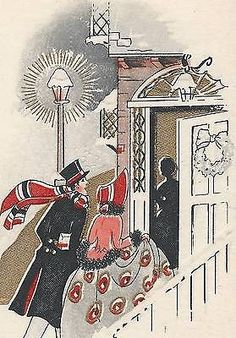 HOLIDAYS VISITORS On Beautiful ART DECO Vintage CHRISTMAS Greeting Card