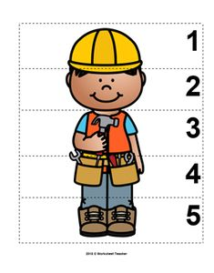 Number Sequence Preschool Picture Puzzle - Construction Worker from Worksheet Teacher Fall Preschool, Preschool At Home, Preschool Activities, Space Activities, Construction Theme Classroom, Construction Worker, Construction Business, Construction Birthday, Construction Design