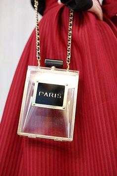 Paris Perfume Bottle Clutch Purse
