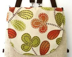 backpack purse messenger crossbody bag convertible bag by daphnenen Backpack Purse, Crossbody Bag, Tote Bag, Ipad, Grey Backpacks, Handmade Handbags, Zipper Bags, Floral Prints, Purses