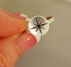 Compass Star Ring with Sapphire on Etsy, $62.00