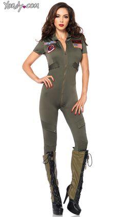 Sexy Top Gun Flight Suit Costume, Top Gun Jumpsuit Costume, Womens Top Gun Costume