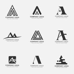 Logos with the letter a, collection Free Vector Logo Desing, Lettering Design, Branding Design, Logos Vintage, Logos Retro, Alphabet Logo, Letter Logo, Letter Fonts, Letter A Logo Design