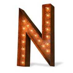 """24"""" Letter N Lighted Vintage Marquee Letters (Modern Font/Rustic)"""