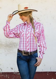 Ladies Pink Check Western Shirt | Long Sleeve Ladies Snap Down Shirt Ladies Western Shirts, Ladies Shirts, Pink Check Shirt, Work Shirts, Western Wear, Down Shirt, Long Sleeve Shirts, Plaid, Jeans