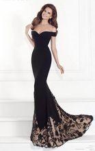 Negro Apliques de Encaje Sirena Formal Vestido de Fiesta 2016 Abendkleider Largo Vestido de Noche vestido de festa da sueros abiti da cerimonia(China (Mainland))