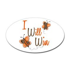 I Will Win 1 Butterfly 2 ORANGE Oval Decal on CafePress.com
