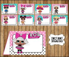 If you are thinking of throwing a LOL Surprise Birthday Party then this is the post for you. LOL is such an amazingly popular birthday party theme we thought we would come up with 21 LOL surprise Birthday Party ideas that will make your party awesome Birthday Party Games, Surprise Birthday, Fourth Birthday, Book Labels, Bottle Labels, Halloween Balloons, School Labels, Doll Party, Tent Cards