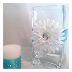 This elegant Centerpiece can be used at any event, weddings, birthday parties, holiday events, corporate and home accents. Daisy flower accent satin ribbon bling ribbon State your color! Elegant Centerpieces, Vase Centerpieces, Vases Decor, Wedding Centerpieces, Centerpiece Ideas, Wedding Decorations, Moms 50th Birthday, Birthday Parties, Birthday Bash