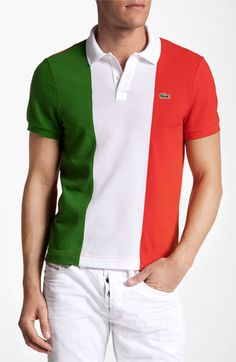 Lacoste 'Italy Flag' Piqué Polo available at #Nordstrom