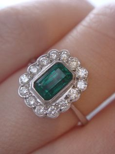 18ct Baguette cut emerald diamond cluster ring £965....x