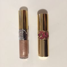YSL Lipstick and Shadow Set YSL full metal shadow in 4 Onde Sable. New, comes with box. YSL Silky Sensual Lipstick in 9 Caress Pink, swatched once without box Yves Saint Laurent Makeup Eyeshadow