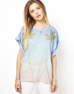 Wildfox Boyfriend T-Shirt With Palm Tree Print