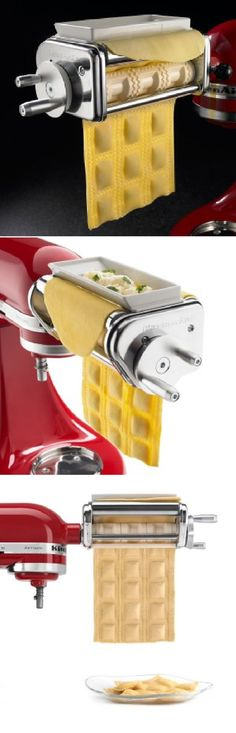 Amazing Ravioli Maker with 6-inch-wide rollers for 3 rows of large-pocket ravioli