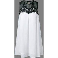 Lace Splicing Chiffon Tent Dress ❤ liked on Polyvore featuring dresses, tent dress, white dresses, lace chiffon dress, lace dress and lacy dress
