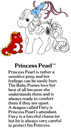My Little Pony Princess Pearl and Fiery the dragon fact file ...