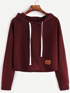 Red Patch Crop Hooded Sweatshirt
