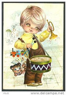 ILLUSTRATEUR, GALLARDA : Enfant, Tambour, Trompette, Peluche, Jouets