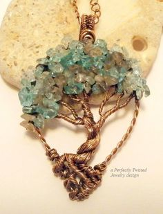 Wire Wrapped Bonsai Tree of Life Pendant Aquamarine and Labradorite by PerfectlyTwisted