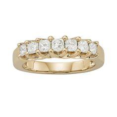 14k Gold 1-ct. T.W. IGL Certified Princess-Cut Diamond Wedding Ring, Women's, Size: 7, White