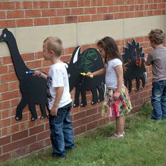 Dinosaur Chalkboards - Watch out there's a dinosaur about! With plenty of space for decorating your dinos these boards are sure to become a popular spot in your classroom or playground. And you can make them your self with plywood, a jigsaw and chalkboard paint. This is happening