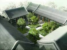 *4 PLANES ENCLOSURE*  This enclosure was formed by combining the courtyards of each residences together. this is called HUTONG, a traditional chinese neighborhood or alley.