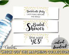 Bottle Labels Bridal Shower Bottle Labels Confetti Bridal Shower Bottle Labels Bridal Shower Confetti Bottle Labels Gold White CZXE5 #bridalshower #bride-to-be #bridetobe