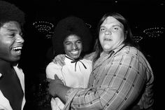 """You never knew who was going to bump into whom at those old Columbia/Epic Sales Conferences of the 1970s. Take, for example, the July 1978 throwdown hosted by the city of Los Angeles, wherein we find Meat Loaf (then at the peak of """"Bat Out Of Hell"""" mania) sharing a tender moment with Michael Jackson and (at left) brother Randy."""