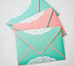 Lovely, cute, adorable, gorgeous, practical ... Choose one and make an envelope!  The cutest envelopes  Make adorable envelopes! They are so cute and easy! You don't have to buy it expensive in the shop, you can do it at home!    http://www.carlas-scraps.com/2011/06/punched-envelope-flap-tutorial.html  Lovely envelopes with dots Easy and lovely. You can download the dots and doilies templates and do it!    http://www.nexttonicx.com/blog/?p=6428  DIY envelopes Did you like these envelopes?…