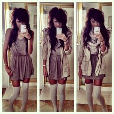 winter neutrals: beige anorak, knit scarf, thigh high socks