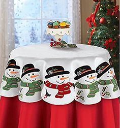 Loaded with charm, this snowman table square is the perfect way to decorate your tables with holiday cheer. The festive linens feature smiling snowmen wearing b Christmas Table Decorations, Holiday Tables, Christmas Countdown, Felt Christmas, Christmas Crafts, Christmas Ornaments, Square Tables, Handmade Felt, Winter Holidays