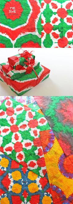DIY Gift Wrapping Ideas: Tie Dye Gift Wrap - I remember doing this when I was a kid!  Had completely forgotten about it until I saw this.