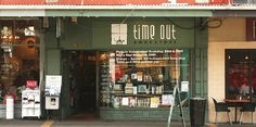 Time Out Bookstore, Mt Eden Village, Auckland, New Zealand. Established in 1988, the shop is renowned for its eclectic books, occasionally weird window displays, heaven-like children's book room, and in-store cat.