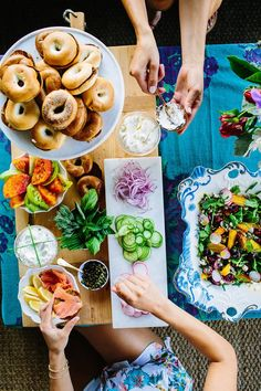 Or set up a bagel table with all kinds of toppings. | 23 Badass Ideas For A Grown-Up Slumber Party