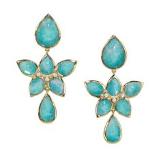 #ElizabethShowers Mariposa 18K Yellow #Gold Blue Amazonite & #MotherofPearl Flower Drop #Earrings