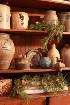 Old textiles, crocks and greenery