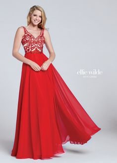 Ellie Wilde EW117050 - Sleeveless chiffon A-line gown with curved V-neckline, hand-beaded embroidered bodice with V-back.