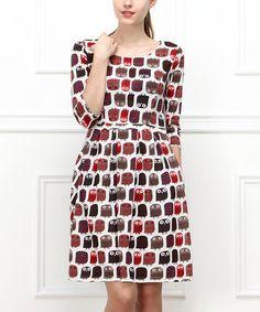 Another great find on #zulily! Cream & Red Owl Dress - Women #zulilyfinds