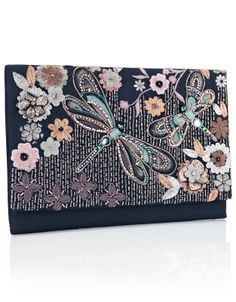 Dragonfly Embellished Clutch   Multi   Accessorize