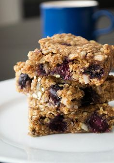 Vegan Flapjacks with Seeds and Blueberries