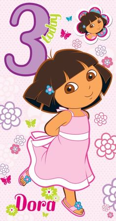 Dora the Explorer Age 3 Birthday Card