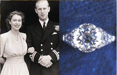 Princess Elizabeth and Prince Philip with the engagement ring he presented to her.